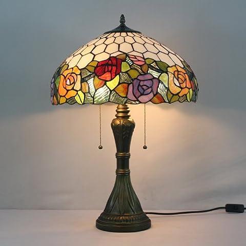 DFN-Tiffany 16 pulgadas Vitral Rose lámpara de mesa dormitorio de la lámpara de cabecera de la lámpara