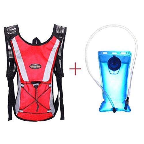 Hydration Bladder,Lanowo 2L Hiking Hydration Bladder Bag Backpack System Pack Water Reservoir Sport Backpack and Hydration Bladder ,Suitable for Cycling, Hiking, Running, Camping, Walking,Red