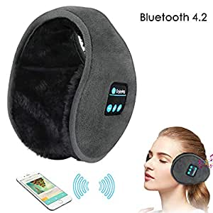 LC-dolida Bluetooth Earmuffs Headphones, Unisex Winter Ear Muffs, Hi-Fi Stereo Music Headsets Wireless Ear Warmers Headphones with Microphone Washable for Outdoor Sports,Traveling(Grey)
