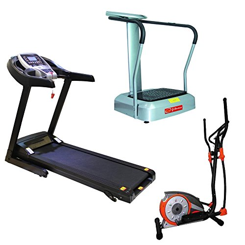Energie Fitness Combo Pack : Home use Mortorised Treadmill EHT 110 + Magnetic Elliptical Bike EHE 111 + Massager EFM 701 (1 Year warranty )