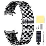 BINLUN Unisex Edelstahl Uhr Armband Schwarz 24MM FBL00016B-SBB24