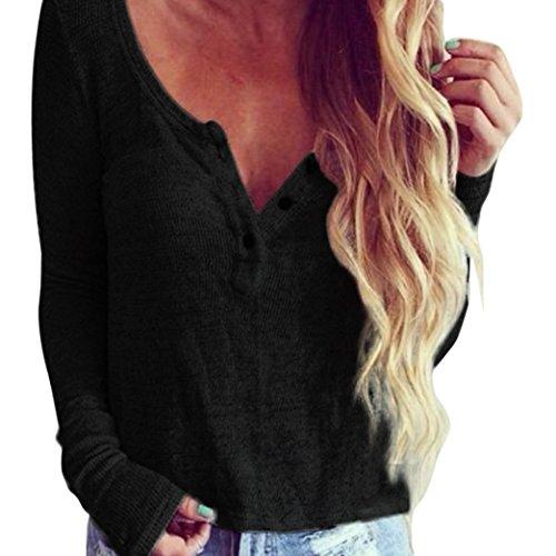 Ularma Damen Causal V Ausschnitt Gestrickt Bluse Top Henley Pullover (L, Schwarz) (Knit Pullover Henley)