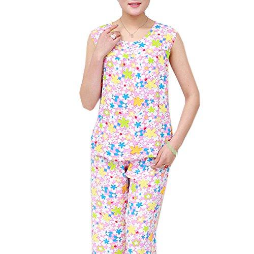 Grandi Dimensioni Signore Senza Maniche Semplice La Stampa A Due Pezzi Pajama Set Biancheria Da Notte 06