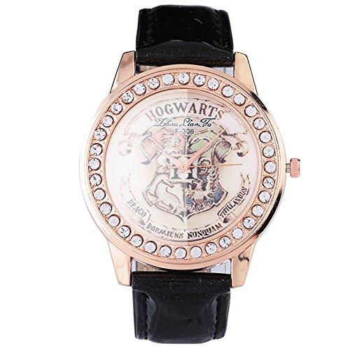 Montres pour les femmes, mouvement à quartz PU alliage rétro strass montre montre-bracelet(Black)