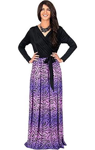 KOH KOH® Damen Langarm Cross-Over Wrap Maxikleid Muster Farbige Paisleymuster Grafik Cocktail Gown, Farbe Violett / Lila, Größe L / Large (Mutter Der Braut Formal Wear)
