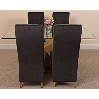 Valencia Small Oak 160cm Modern Glass Dining Set Table and 4 Black Fabric Chairs