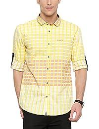 SHOWOFF Mens Yellow Checkered Casual Shirt