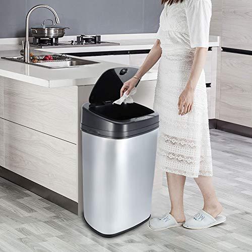 GOTOTO 50L Bote de Basura del Sensor Cocina Automática Plata Cuadrada Basura Papelera