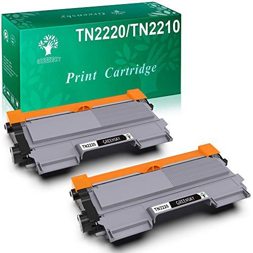 GREENSKY TN2220 TN2210 Cartuccia Toner Compatibile Nero, Sostitutiva per Brother HL-2130 HL-2250DN DCP-7055 DCP-7055W HL-2220 HL-2132 HL-2230 HL-2240 HL-2240D HL-2270 (2- pack)