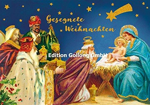 Nostalgische Weihnachtskarte Carola Pabst * Krippenszene * Goldglitter