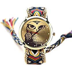 S&E? Women's National Style Owl Shape Dial Plate Knitting Strap Wrist Watch