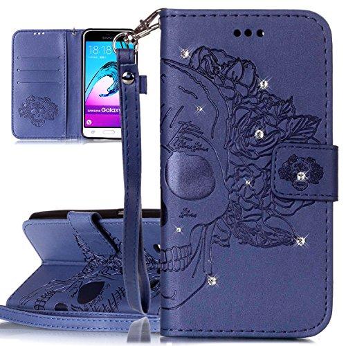 Custodia Galaxy J3 ISAKEN Cover Samsung Galaxy J3 con Strap, Elegante borsa Dente di leone Design in Pelle Sintetica Ecopelle PU Case Cover Protettiva Flip Portafoglio Case Cover Protezione Caso con S cranio:blu