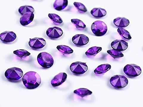 100 Stück Dekosteine Diamanten 1,2 cm // Steru Deko Hochzeit Taufe Kommunion Streudeko Tischdeko (lila