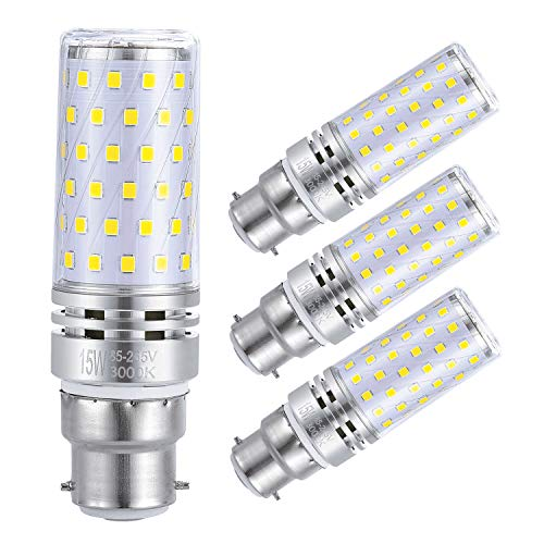 Sagel B22LED Mais Leuchtmittel 15W, Entspricht 120W Glühbirnen, 3000K Warm Weiß, Nicht Dimmbar, 1500lm, Bajonett Kappe Mais Lampen, 4er Pack