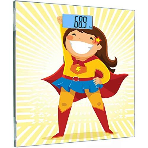 Ultraflache, hochpräzise Sensoren Digitale Waage mit Körpergewicht Superhelden-Personenwaage aus gehärtetem Glas, mutiges kleines Mädchen mit großem Lächeln im Kostüm in heroischer Position, Multicolo (Superhelden-kostüme Machen Zu Einfach)