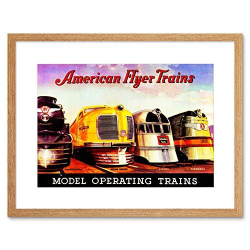 Wee Blue Coo Ad Model Train Engines American Flyer Toy Children Kids Lámina  Enmarcada 12 x 16 Pulgadas
