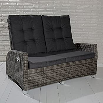 poly rattan luxus 2 sitzer lounge rocking sofa verstellbare r ckenlehne grau k che. Black Bedroom Furniture Sets. Home Design Ideas