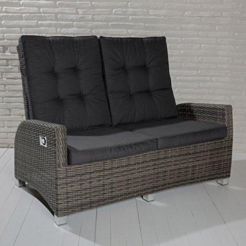 POLY RATTAN Luxus 2 Sitzer Lounge Rocking Sofa Verstellbare Rückenlehne  Grau Jetzt Kaufen