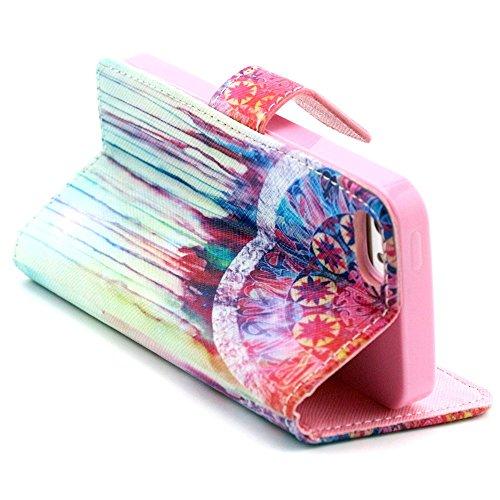 Più colorate Ancerson in pelle PU Flip Custodia per cellulare per Apple iPhone 5/5S/5G in pittura ad olio Stil Colorful Painting Custodia Flip Case Custodia in similpelle custodia per cellulare con fu Traumfänger