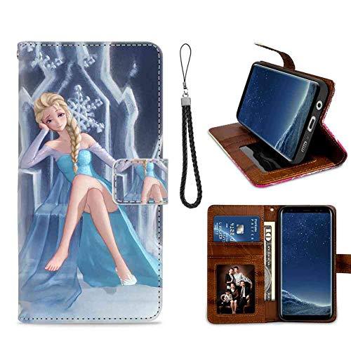Étui Portefeuille pour Galaxy S8 (2017) 5,8 Pouces La Reine des neiges Anime Girl Princess Elsa Wristlet