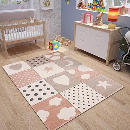 Kinderteppiche Patchwork Herz Sterne Wolke | Kinderteppich für Mädchen und Jungs | Teppich für Kinderzimmer | Farbe: Blau, Grau & Rosa | Schadstofffrei Kinderzimmerteppich -