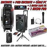 Ibiza Sound - Ibiza Port 15 Vhf Bt + Pied + Câble Pc + 2 Micros Sans Fil + 1 Micro Dj