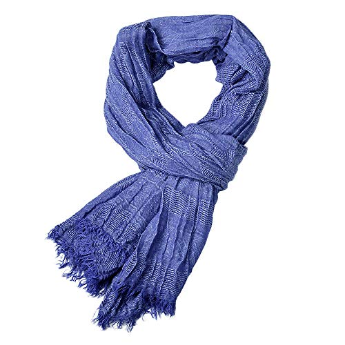 Fenverk Winter MäNner Klassisch Schal Franse Drucken Blumen Quaste Lange Weich Warm Herren Prime Einfach Farbe Mischen Hals Schals(Blau)