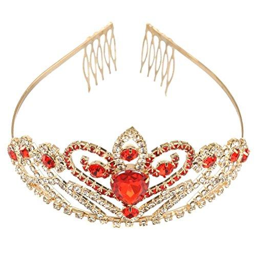 Pixnor Matrimonio partito Bridal Bridesmaid cristallo strass Corona archetto Tiara chiusura capelli Clip Pin