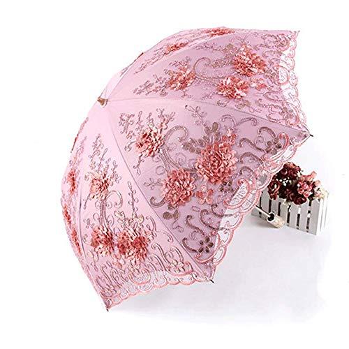 CCF Stickerei-Spitze Doppel Sonnenschirm Sonnenschirm Lila-Linie (Farbe : Pink) (Frames Stickerei Schnelle)