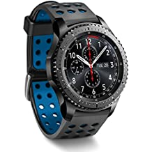 Greatfine Reloj Inteligente Smart Watch 22mm Silicona Banda de Reloj de la correa de para Samsung Gear S3 frontier / Classic / Gear2 R380 Neo R381 Live R382 / MOTO 360 2nd/Pebble Time / LG G Watch W100/W110/Urbane Smartwatch (Black Blue)