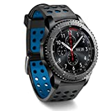 Greatfine Inteligente 22mm Silicona Banda de Reloj de la Correa de para Samsung Gear S3 Frontier/Classic / Gear2 / Moto 360 2nd/Pebble Time/LG G Watch W100/W110/Urbane (Black Blue)