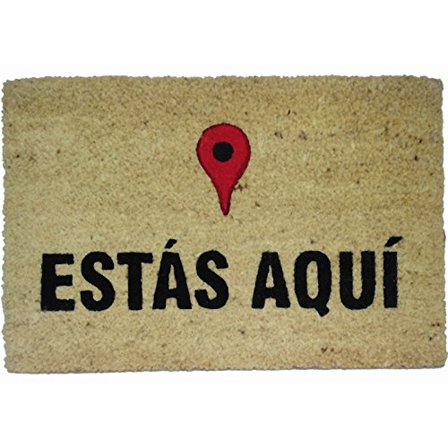 koko doormats Felpudo con diseño Estas Aquí Coco, PVC, 60 x 40 cm