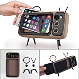 Retro Altoparlante Bluetooth,Portatile Speaker Stereo a Forma di TV,Porta Cellulare,Supporto AUX/FM/Bluetooth modalità Mobile Phone Holder