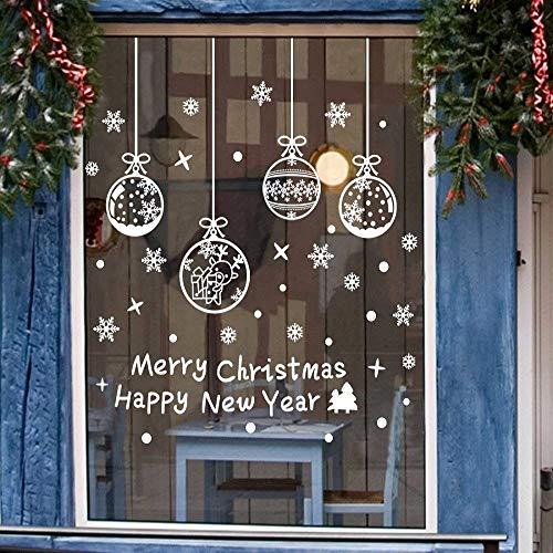 Weihnachts Schneeflocken Fensterbild Abnehmbare Fensterdeko Statisch Haftende PVC Aufkleber Winter Dekoration für Türen,Schaufenster, Vitrinen, Glasfronten