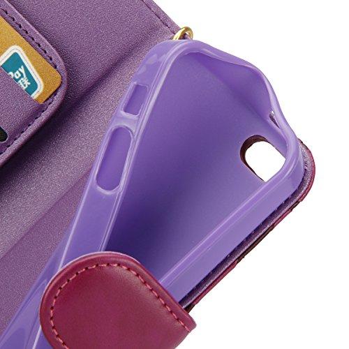 Custodia iPhone 6S, ISAKEN Custodia iPhone 6, iPhone 6 Flip Cover in Color, Elegante Fiori Pattern Design Custodia PU Pelle Protettiva Portafoglio Case Cover per Apple iPhone 6 4.7 / con Supporto di  rose: viola