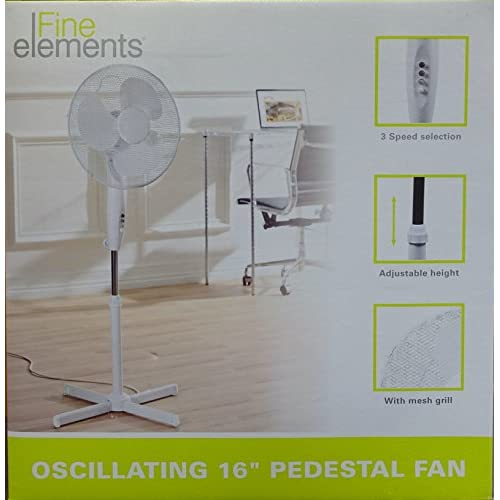 Generic 16 OSCILLATING PEDESTAL AIR COOLING ELECTRIC FAN EXTENDABLE ADJUSTABLE STAND, White