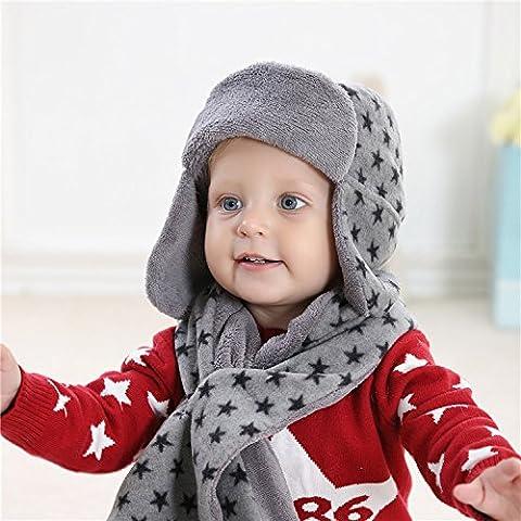 Corallo Cashmere Grigio Star sveglio bambini sciarpa cappello guanti caldo autunno e inverno ragazzo 3 Piece Set , hat 47cm scarf