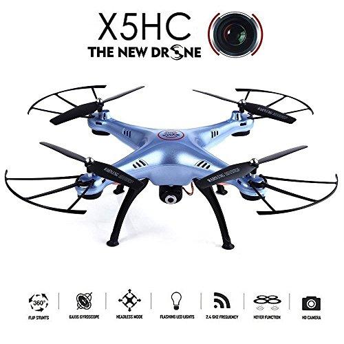 Syma X5HC Drone con Telecamera 2.0MP HD 2.4GHz 4CH 6 Axis RC Quadricottero Telecomando Drone 360 Gradi 3D Rollover, Blu