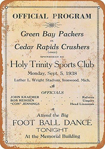 CDecor Green Bay Packers Blechschilder, Metall Poster, Retro Warnschild Schilder Blech Blechschild Malerei Wanddekoration Bar Geschäft Cafe Garage (Packers Band Bay Green)
