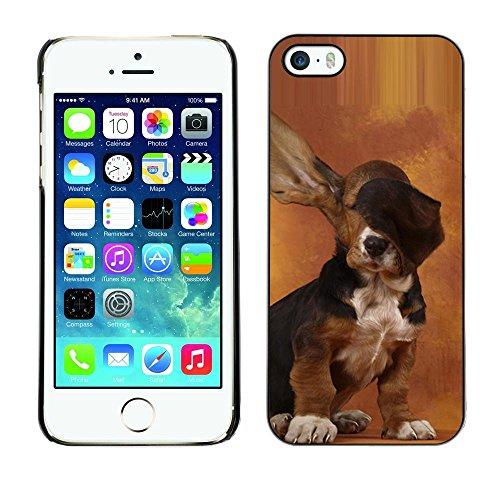 TopCaseStore / cassa della gomma dura di protezione della copertura della pelle - Dog Long Ears Basset Hound Brown Puppy - Apple iPhone 5 / 5S