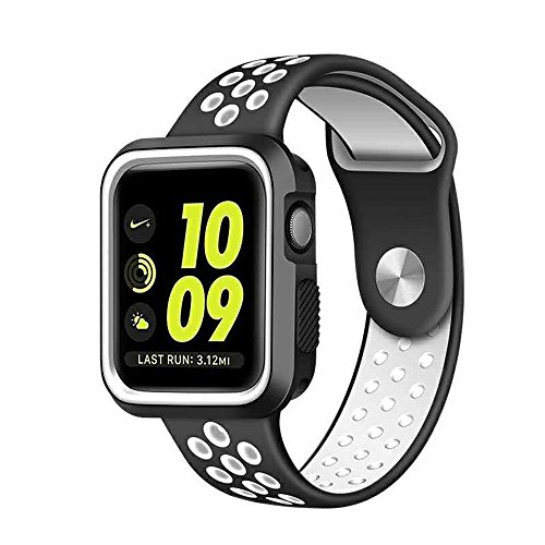 Preisvergleich Produktbild LEEHUR- Apple Watch Armband 42mm, Serie 1/2 Sport Armbanduhr Silikonarmband Ersatzarmband Armband für Apple iWatch / Apple Uhr Nike + (42mm, Weiß&Schwarz)