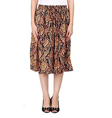 COTTON BREEZE Women's Cotton A-line Skirt (Black, Free Size)
