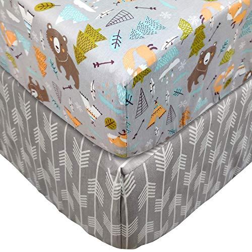 TEALP Spannbettlaken für Babybett Kinderbett - 60x120 bis 70x140 cm, 100% Baumwolle (2er Set), Bär