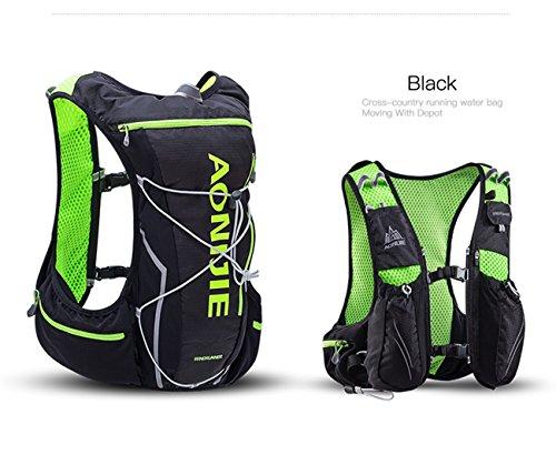 AONIJIE 10L leggero impermeabile Zaino Zaino da corsa cross-country Marathon Ciclismo borse da Running gilet bollitore borsa sportiva + 2L idratazione acqua borsa (Blu-L/XL) Nero-M/L