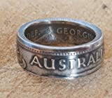 Coinring, Münzring, Ring aus Münze (1 Shilling, Australien 1952), 500er Silber - Double Sided coin ring - Größe 48 (15.3), handgeschmiedetes Unikat