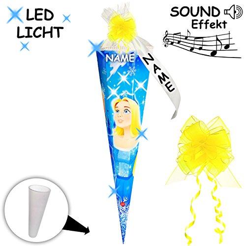 mit _ LED Licht & Sound Effekt Modul ! _ Schultüte -  EIS Prinzessin - Schneekönigin / Märchenprinzessin  - 70 cm - rund - incl. Name und individueller SCHL.. ()