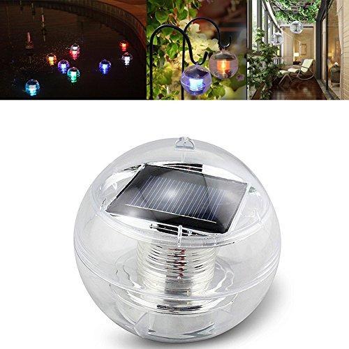 Lianqi Schwimmendes Wasser LED Solarlicht 7 Farben, wasserdichtes IP44, Mehrfarbig dekorierte Lichter auf dem Wasser für GartenLandschaft Pond Spa Whirlpool-Kugel-Licht(1 PCS)
