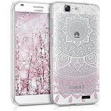 kwmobile Funda TPU silicona transparente para Huawei Ascend G7 en rosa claro blanco transparente Diseño sol indio