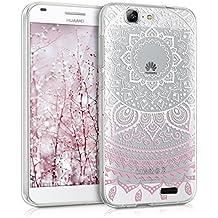 kwmobile Funda para Huawei Ascend G7 - Case para móvil en TPU silicona - Cover trasero Diseño sol indio en rosa claro blanco transparente