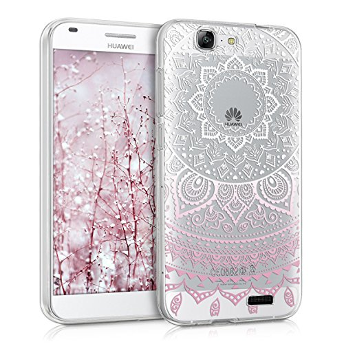 kwmobile Funda para Huawei Ascend G7 - Case para móvil en TPU silicona - Cover trasero Diseño Sol hindú en rosa claro blanco transparente